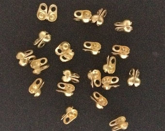 30pcs Gold filled ball chain connector - gold Ball chain crimp end caps - gold fill bead tips - Ball Chain Connector fits 1.2 mm or 1,5 mm