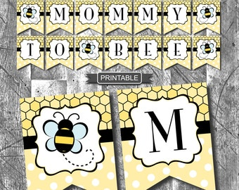 Yellow and Black Bumble Bee Themed Baby Shower Decorations Banner Digital Printable PDF Instant Download-Mommy To Bee