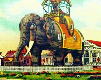 Elephant Hotel Art, Elephant Print Vintage New Jersey Art, Elephant Art 12x12 20x20 New Jersey Wall Art Lucy Margate Atlantic City NJ