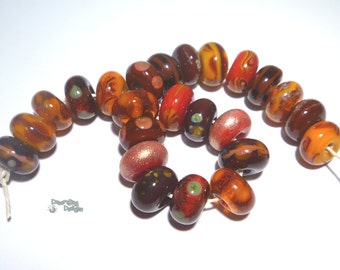 AUTUMN  Handmade Lampwork Beads  -  Red Orange Brown Sienna Gold Olive Topaz   - Pretty  FAll Colors - Organic