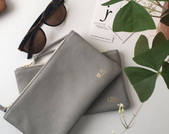 Monogrammed Leather Clutch // Bridesmaid Gift // Leather Clutch // Soft Leather Clutch