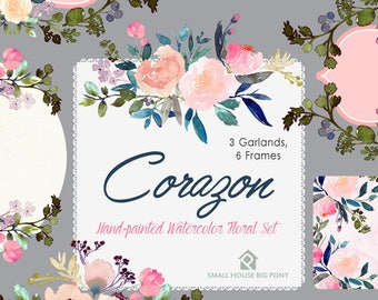 Digital Clipart- Watercolor Flower Clipart, peonies Clip art, Floral Bouquet Clipart, wedding flowers clip art- Corazon Frames and Garlands