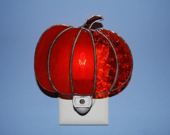 Night Light Stained Glass Orange Pumpkin Autumn