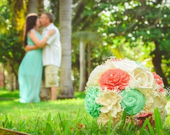 Coral and Mint Wedding Bouquet - sola flowers - Customize colors - natural bouquet - bridal bouquet - Alternative - bridesmaids bouquet