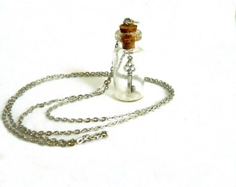 steampunk vintage alice bottle and silver key necklace