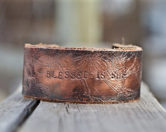 Copper and Leather Cuff, Scripture Cuff, Inspirational Gift Jewelry, Rustic Unisex Cuff, Custom Word Cuff, Gift for Mom for Mothers Day
