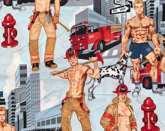 Ready for Action FIREMEN / Fireman / FIRE Fighters ~ Alexander Henry Hunks ~ Dalmation, Hydrant.....100% Cotton Fabric -1 Yard