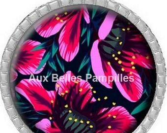 Round Cabochon pendant 25 mm epoxy resin - summer scent (1156)