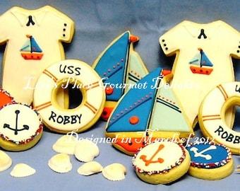 Nautical Baby Shower Cookies - 24 Cookies