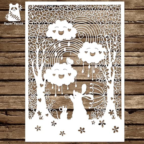 Paper panda papercut diy design template happy clouds from paper panda papercut diy design template happy clouds from paperpandapapercuts on etsy studio maxwellsz