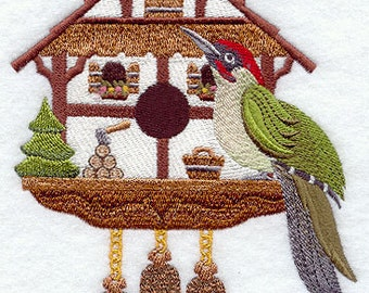 German Coo Coo Clock Bird House with Eurasian Green Woodpecker Embroidered Flour Sack Hand/Dish Towel
