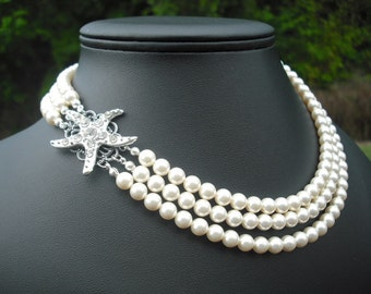 STARFISH Version 1, Triple Strands Necklace, Bridal Necklace, Rhinestone and Pearl Necklace, Vintage Style, Wedding Jewelry