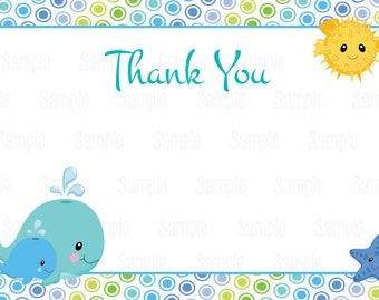 Instant Download Printable Under the sea thank you card