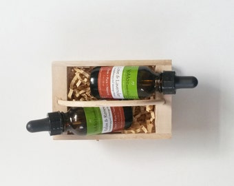 Organic Aromatherapy and Massage Oil Gift Set. Natural Healing Holiday Gift Set.
