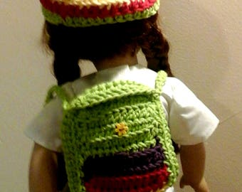 Yellow, green, red hat and backpack