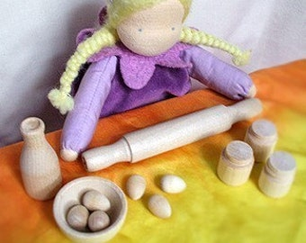 Doll Baking Set. Wooden Pretend Play Birthday Tea Party Wood Princess Fairy Gift Favor. Waldorf Montessori from Natural Kids and Toys