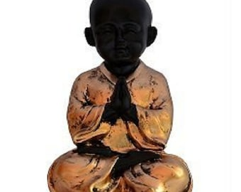 HappyMaa Child Budhha in Meditation State in Black and Gold Color-Polyresin