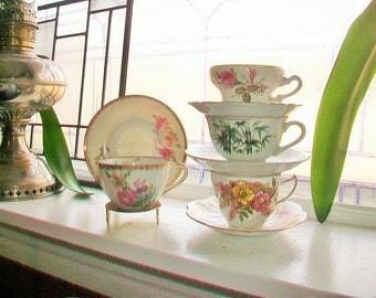 4 Vintage Tea Cups and Saucers Collection Mix and Match Sets Wedding Bridal Bridesmaid Shower Hostess Luncheon Gifts Bone China