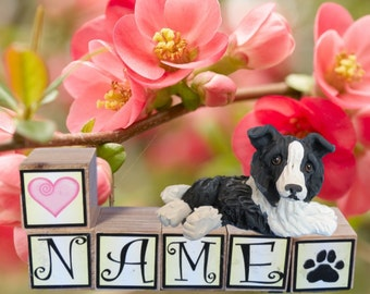 Black and White Border Collie dog PERSONALIZED with your dog's name on blocks by Sally's Bits of Clay