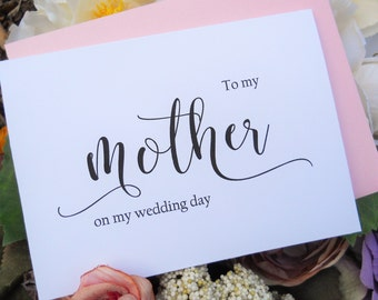TO MY MOTHER on my Wedding Day Card, Shimmer Envelope,To My Mother Card, Mother of the Bride Card, Wedding Stationery, Wedding Note Card