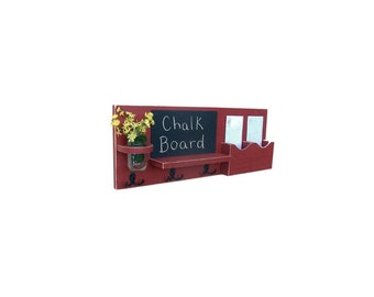 Chalkboard Mail Organizer Mason Jar - Mail and Key Holder - Chalk board - Key Hooks -  Coat Rack - Wood