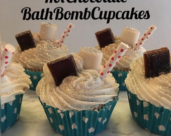 Hot chocolate bath bomb cupcake
