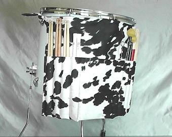 Ups-Drumstick-Bag Roll-in Faux Kuh ausblenden schwarz weißen Farm Geschenk für Country-Musik-Percussion Trommler