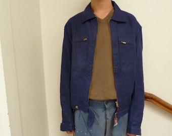 french workwear jacket denim jacket, bomber jacket, french, vintage chore jacket, indigo 50s 60s denim deadstock workwear, Bleu de Travail