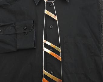 MENS JEWELRY - STEEL Necktie, Copper, Forged Tie, Blacksmith jewelry wearable art, steelnecktie, copper tie handmade fashion men's accessory