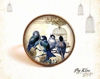 The bird cage • • blue beige flower Cabochon ring