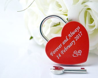 Red Love Lock, Padlock with Key Romantic Gift, engraved with your text