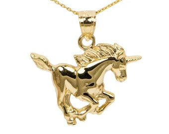 14k Yellow Gold Unicorn Necklace