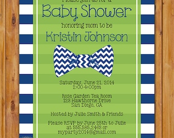 Navy Little Man Bow Tie Baby Shower Invitation Lime Green Navy Blue Horizontal Stripes Chevron Shower Invite 5x7 Digital Invite (306)
