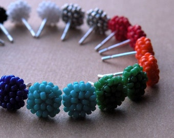 Set of 3 Pairs of Seedbead Woven Post Earrings --  Choose Your Own Colors -- babblingbrookes