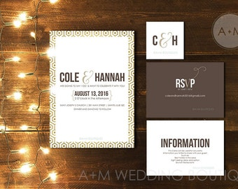 Wedding Invitation set, Gold and White, Printable Invitations: Cole GOLD