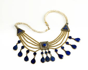 blue and silver Sindh antique ethnic necklace