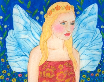 Angel Painting, Angel Art Print, Child's Room Decor, Guardian Angel Painting Large Art Print for Girls Bedroom, Wall Art for Children Decor