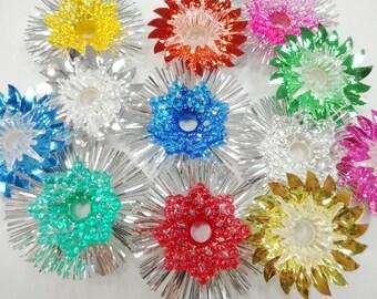 Christmas Kitsch Vintage Tinsel Foil Flower Reflectors Tree Light  Novelty Tree Ornaments Decorations Lot (12) Each