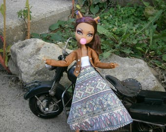 Faux leather jacket and dress for monster high and ever after high dolls
