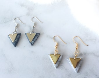 Triangle Drop Earrings/ Handmade Polymer Clay Triangle Dangle Earrings/ Dangle Triangle Clay Marble Earrings/ Handmade Earrings