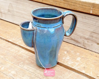 20oz Traveling Joey Pouch Mug in Rain Glaze. Convenient side caddy for tea bag + it fits in your car cup holder!  Wheel thrown stoneware mug