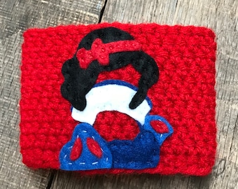 Disney's Snow White Coffee Cozy / Reusable Coffee Cozy / Crochet Coffee Sleeve
