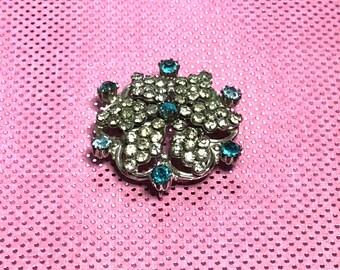 Vintage  Flowers Brooch, Solid Silver Tone, Floral Figural, blue clear, Rhinestones, Item No. B189