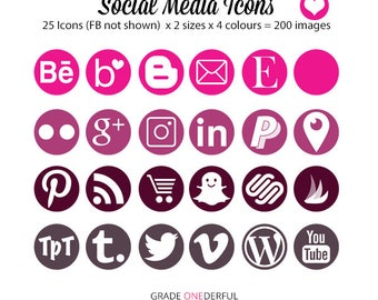 Social Media Icons, Round Social Media Buttons, Social Media Graphics, Pink Social Icons, Grey Social Icons, Commercial Use
