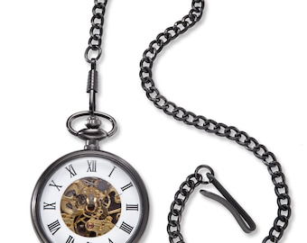 Gunmetal Gray Exposed Gears Pocket Watch - Personalized Pocket Watch - Engraved Pocket Watch - Groomsmen Gifts - Gifts for Him - GC1518