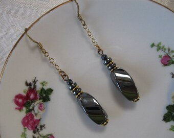 Stunning black swirl dangle earrings