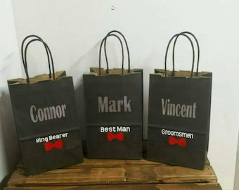 Groomsman Gift Bag, Personalized Gift Bag, Party Favor, Bridal Party Gift Bag, Bachelorette Party, Black Gift Bag