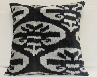 Free Shipping,19 inches x 19 inches,Silk Velvet ikat Pillow,Hand Loom Made Silk Velvet ikat Cushion Cover,ikat Fabric,Decorative Pillow
