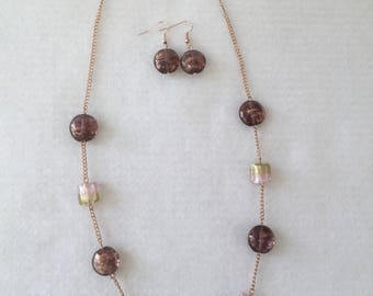 Copper and Pink Necklace and Earrings // beaded // chain // lampwork // glass // copper //