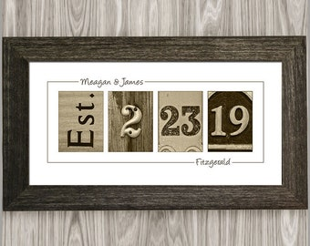 Personalized Wedding Gift for Couple, Custom Established Date Wedding Sign, Rustic Wedding Gift, Gift for Bride, Personalized Gifts